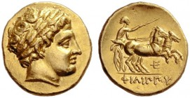 Greek Coins   Philip II 359 – 336 and posthumous issues  Stater, Pella circa 323-316, AV 8.61 g. Laureate head of Apollo r. Rev. Prancing biga driven...