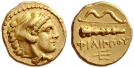 Greek Coins   Philip II 359 – 336 and posthumous issues  ¼ stater, Pella 340-328, AV 3.16 g. Head of young Heracles r., wearing lion's skin. Rev. Bow...