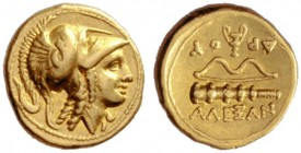 Greek Coins   Alexander III, 336 – 323 and posthumous issues  ¼ stater, Amphipolis circa 330-320, AV 2.13 g. Head of Athena r., wearing Corinthian he...