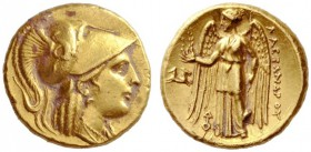 Greek Coins   Alexander III, 336 – 323 and posthumous issues  Stater, Lampsacus 328-323, AV 8.60 g. Head of Athena r., wearing crested Corinthian hel...