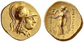 Greek Coins   Alexander III, 336 – 323 and posthumous issues  Stater, Susa 325-320, AV 8.64 g. Head of Athena r., wearing crested Corinthian helmet, ...
