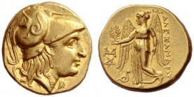 Greek Coins   Alexander III, 336 – 323 and posthumous issues  Stater, Abydus 323-317, AV 8.56 g. Head of Athena r., wearing crested Corinthian helmet...