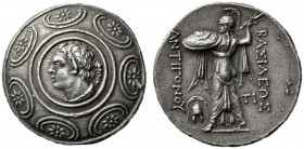 Greek Coins   Antigonus II Gonatas, 277-239  Tetradrachm Amphipolis 277-239, AR 17.01g. Macedonian shield decorated in centre with head of Pan l., wi...