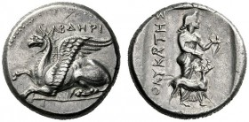 Greek Coins   Thrace, Abdera  Stater circa 386-375, AR 11.56 g. Griffin crouching l. Rev. Artemis standing r., holding bow and arrow; at her side, st...