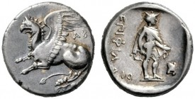 Greek Coins   Thrace, Abdera  Tetrobol circa 386-375, AR 2.83 g. Griffin leaping l. Rev. Hermes standing r., wearing petasus and chlamys . Weber 2384...