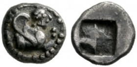 Greek Coins   Islands off Thrace, Samothrace  Obol circa 500, AR 0.43 g. Forepart of Sphinx r. Rev. Quadripartite incuse square. Schwabacher 5. IGCH ...