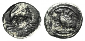 Sicily, Akragas, c. 450/46-439 BC. AR Litra (9mm, 0.58g, 7h). Eagle standing l. on Ionic capital. R/ Crab. SNG ANS 990; HGC 2, 121. Toned, VF