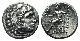 Kings of Macedon, Alexander III 'the Great' (336-323). AR Drachm (17mm, 4.06g, 1h). Abydos, c. 310-301. Head of Herakles r. in lion skin headdress. R/...