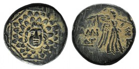 Pontos, Amisos, time of Mithradates VI, c. 85-65 BC. Æ (20mm, 8.43g, 1h). Aegis with Gorgoneion in centre. R/ Nike advancing r. holding wreath and pal...