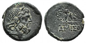 Pontos, Amisos, time of Mithradates VI, c. 85-65 BC. Æ (20mm, 8.87g, 12h). Laureate head of Zeus r. R/ Eagle standing l., head r., on thunderbolt; mon...