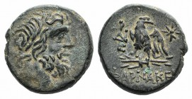 Pontos, Pharnakeia, c. 85-65 BC. Æ (20mm, 8.28g, 12h). Laureate head of Zeus r. R/ Eagle standing l. on thunderbolt with open wings, head r.; monogram...