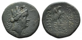 Bithynia, Nicomedia, 1st century BC. Æ (23mm, 7.67g, 12h). C. Vibius Pansa, proconsul, dated 47/6 BC. Turreted head r. R/ Eagle standing r. on thunder...