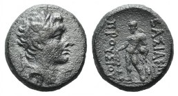 Kings of Bithynia, Prusias II (182-149 BC). Æ (16mm, 4.93g, 12h). Head of Prusias r., wearing a winged diadem. R/ Herakles standing l., holding club i...