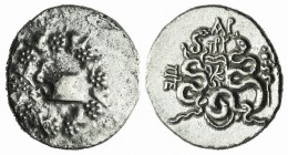 Mysia, Pergamon, c. 166-67 BC. AR Cistophoric Tetradrachm (27mm, 12.18g, 10h), c. 88-85 BC. Cista mystica within ivy wreath. R/ Two serpents entwined ...