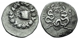 Mysia, Pergamon, c. 166-67 BC. AR Cistophoric Tetradrachm (27mm, 12.39g, 12h). Cista mystica within ivy wreath. R/ Bow case with serpents; ΔH and mono...