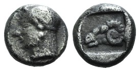 Troas, Kebren, c. 5th century BC. AR Diobol (8mm, 1.01g, 6h). Female head l. R/ Ram's head l. within incuse square. SNG von Aulock 1546. Rare, about V...