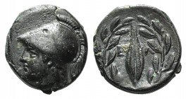 Aeolis, Elaia, mid 4th-3rd century BC. Æ (10mm, 1.52g, 3h). Helmeted head of Athena l. R/ Grain-seed within olive-wreath. SNG Copenhagen 171-172. Good...