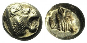 Lesbos, Mytilene, c. 521-478 BC. EL Hekte (10mm, 2.55g, 3h). Head of roaring lion r. R/ Incuse head of calf r., within rectangular punch. Bodenstedt 1...