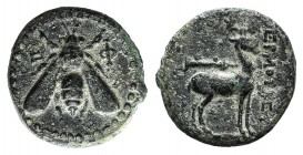 Ionia, Ephesos, c. 200 BC. Æ (16mm, 3.10g, 12h). Hermotrephes, magistrate. Bee. R/ Stag standing r.; quiver above. Kinns, Attic Class A; Imhoof-Blumer...