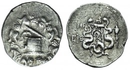 Ionia, Ephesos, c. 180-67 BC. AR Cistophoric Tetradrachm (28mm, 12.62g, 12h). Dated CY 42 (93/2 BC). Cista mystica with serpent; all within ivy-wreath...