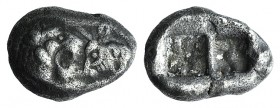 Kings of Lydia, Kroisos (c. 564/53-550/39 BC). AR Hemistater (17mm, 5.22g). Sardes. Confronted foreparts of lion r. and bull l. R/ Two incuse squares....