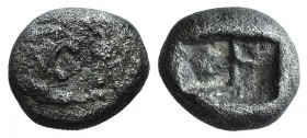 Kings of Lydia, Kroisos (c. 564/53-550/39 BC). AR Sixth Stater (8.5mm, 1.55g). Sardes. Confronted foreparts of lion r. and bull l. R/ Two incuse squar...