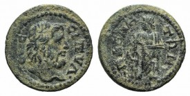 Lydia, Magnesia ad Sipylum, 3rd century AD. Æ (21mm, 4.61g, 6h). Bearded head of Mount Sipylos r. R/ Asklepios standing facing, head l., holding serpe...