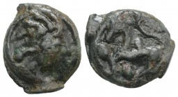 Celtic, Northwest Gaul. Aulerci Eburovices, c. 100-50 BC. Potin Unit (20.5mm, 5.57g, 3h). Stylized head r. R/ Stylized horse l.; pellets around. Depey...