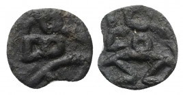 Islands of Spain, Ebusus, late 2nd-early 1st centuries BC. Æ (14mm, 1.06g, 9h). Bes standing facing. R/ Bes standing facing. Cf. CNH 38-40. About VF