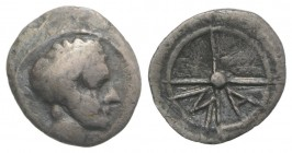 Gaul, Massalia, c. 218/5-200 BC. AR Hemiobol (9mm, 0.40g, 6h). Bare head of Apollo l. R/ MA within wheel of four spokes. Cf. Depeyrot, Hellénistiques ...