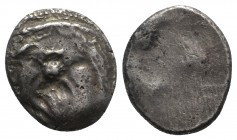 Etruria, Populonia, c. 3rd century BC. AR 20 Asses (21.5mm, 8.03g). Diademed facing head of Metus; X:X below. R/ Blank. EC Group XII, Series 52; HNIta...