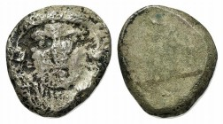 Etruria, Populonia, c. 300-250 BC. AR 20 Asses (18mm, 7.99g). Youthful head of Herakles facing; [X-X] flanking neck, below. R/ Blank. EC Group XIII, S...