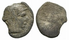 Etruria, Populonia, 3rd century BC. AR 5 Asses (12mm, 1.21g). Head of Turms r., wearing winged petasos. R/ Blank. EC Series 81; HNItaly 161. Rare, Fin...
