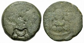 Etruria, Populonia, late 3rd century BC. Æ Triens (28mm, 20.11g, 8h). Helmeted head of Menrva r.; c/m: crescent and •–• in irregular incuse. R/ Owl st...