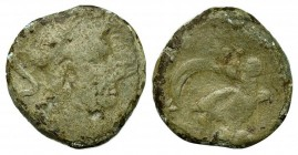 Etruria, Populonia, late 3rd century BC. Æ Sextans (23mm, 7.12g, 6h). Helmeted head of Menrva r. R/ Owl standing r., head facing; crescent between two...