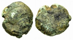Etruria, Vetulonia, 3rd century BC. Æ Uncia (17mm, 6.14g). Head of female r. R/ Blank. EC Series 1; HNItaly 198. Very Rare, green patina, Fine
