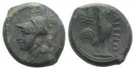 Northern Campania, Cales, c. 265-240 BC. Æ (19mm, 5.96g, 9h). Helmeted head of Athena l. R/ Cock standing r.; star to l. Sambon 916; HNItaly 435; SNG ...