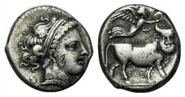 Southern Campania, Neapolis, c. 300 BC. AR Didrachm (20mm, 7.00g, 2h). Diademed head of nymph r., hair in band. R/ Man-headed bull standing r., head f...