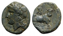 Southern Campania, Neapolis, c. 300-275 BC. Æ (16mm, 3.61g, 6h). Laureate head of Apollo l. R/ Man-headed bull walking r.; cuirass above, EN below. HN...