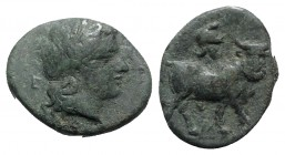 Southern Campania, Neapolis, c. 300-275 BC. Æ (18mm, 4.22g, 7h). Laureate head of Apollo r.; E behind. R/ Man-headed bull walking r.; helmet above. HN...