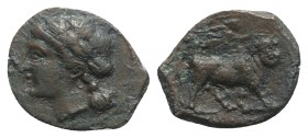 Southern Campania, Neapolis, c. 250-225 BC. Æ (15mm, 1.92g, 11h). Laureate head of Apollo l. R/ Man-headed bull walking r.; above, Nike flying r., pla...