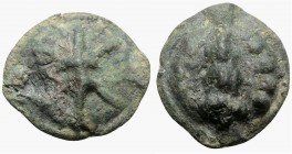 Northern Apulia, Luceria, c. 217-212 BC. Cast Æ Quatrunx (35mm, 34.25g). Thunderbolt on a raised disk. R/ Club; four pellets to r.; all on a raised di...