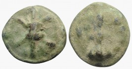 Northern Apulia, Luceria, c. 217-212 BC. Cast Æ Quatrunx (30mm, 25.69g). Thunderbolt on a raised disk. R/ Club; four pellets to r.; all on a raised di...