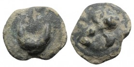 Northern Apulia, Luceria, c. 217-212 BC. Cast Æ Semuncia (20mm, 8.49g). Crescent. R/ Filleted thyrsos. Vecchi ICC, 350; HNItaly 677f; SNG ANS -. Green...