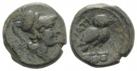 Northern Apulia, Teate, c. 225-200 BC. Æ Teruncius (22mm, 13.25g, 3h). Helmeted head of Athena r. R/ Owl standing r., head facing; three pellets below...