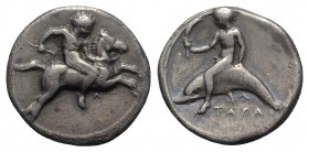 Southern Apulia, Tarentum, c. 400-390 BC. AR Nomos (21mm, 7.64g, 9h). Youth on horse galloping r.; Λ below. R/ Phalanthos, holding torch, riding dolph...