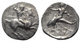 Southern Apulia, Tarentum, c. 332-302 BC. AR Nomos (20mm, 7.62g, 3h). Warrior on horse galloping r., holding shield and two spears, striking with a th...