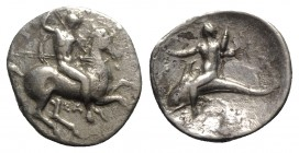 Southern Apulia, Tarentum, c. 332-302 BC. AR Nomos (19mm, 7.39g, 4h). Warrior, holding shield and two spears, preparing to cast a third, on horseback ...