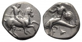 Southern Apulia, Tarentum, c. 332-302 BC. AR Nomos (18mm, 7.72g, 3h). Warrior, holding shield and two spears, preparing to cast a third, on horseback ...