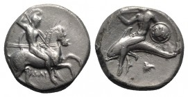 Southern Apulia, Tarentum, c. 332-302 BC. AR Nomos (20mm, 7.80g, 6h). Warrior, holding shield and two spears, preparing to cast a third, on horseback ...